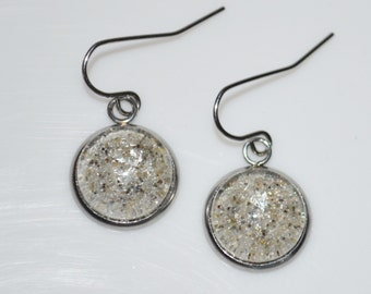 Seasons of Maine Summer Beach Sand Jewelry Made in Maine with sand from Kennebunk Beach Maine-Sand earrings with a piece of Maine