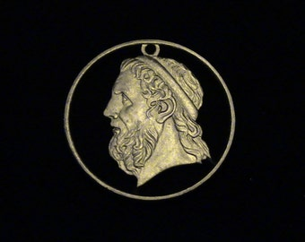 Greece - cut coin pendant -  Homer, Ancient Author or Iliad and Odyssey - 2000