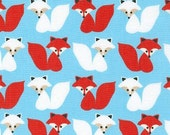 One (1) Yard -Woodland Pals Red and White Fox on Sky Blue by Robert Kaufman Fabrics AAK-15958-4 Blue
