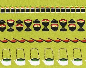 One (1) Yard - Conveyor Sushi Fabric Michael Miller DC7463-WASA-D Green