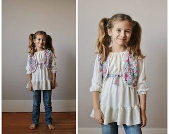 1970s Floral Peasant Dress & Vest >>> Size 3t/4t