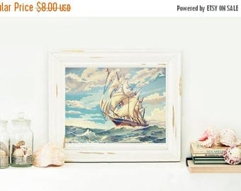 SALE Instant Download Tall Ship Paint By Number Print Your Own Artwork Nautical Painting Digital Download Sailboat Art