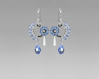 Steampunk Earrings, Blue Swarovski Crystal, Swarovski Earrings, Bridal Jewelry, Light Blue Crystal, Statement Jewelry, Aither II v9