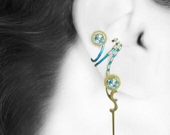 Aquamarine Swarovski Crystal, Steampunk Ear Cuff, No PIercing Needed, Wire Wrapped, Vintage Clock Parts, Youniquely Chic, Hebe II v11