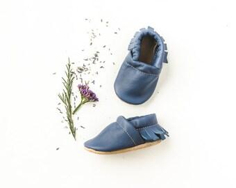 Indigo Blue  Moccs Fringe Soft Soled Leather Moccasins Shoes Baby and Toddler  Free Ship in US