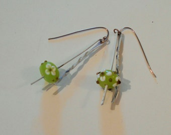 Bobby's Daisy earrings - glass lamp work beads, bobby pins, flowers, quirky, white, fresh