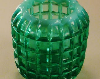 Studio ART Glass VASE Moderne Handcrafted optic squares pattern green and blue colors 4in tall 4 in diam