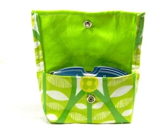 Business Card Holder, Gift Card Holder, Purse Accessory, Credit Card Holder, Grocery Card Holder, Ready to Ship, Waterproof Green Leaf