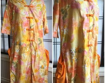 Vintage Japanese style Hawaiian Day Dress.Garden Tunic. 70's spring Dress