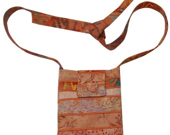 Small Batik Purse in Coral with Adjustable Straps