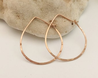 Rose Gold Teardrop Hoops - Medium (H01RG-M) Hammered, Pink Gold, Hoops - wire jewelry by cristysjewelry on etsy