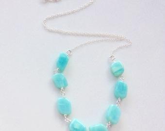 Blue opal necklace, pastel jewellery, summer wedding