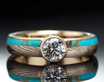 Mokumé Gane 14K Yellow Gold, Shakudo, and Sterling Silver Ring with Turquoise Inlay and Diamond