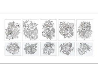 Assorted 10 Henna Mehndi Design Coloring Note Thank you Cards White Envelopes & 5 gel pens - Blank Inside - 5.5 x 4 inches -- KK-NC-SET1