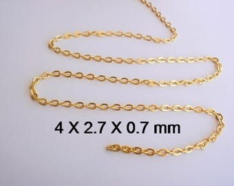 10 Feet Chain, Gold Color Flat Link Cross Chain, Jewelry making supplies, 4 mm long, 2.7 mm wide, 0.7 mm thick