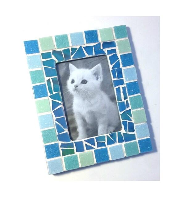 Mosaic Picture Frame, Aqua Blue Frame, Rectangle Mosaic Frame, Blue Mosaic Frame, Glass Tile Mosaic Picture Frame, 3.5 x 5  Mosaic Frame