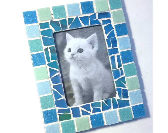 Mosaic Picture Frame, Aqua Blue Frame, Rectangle Mosaic Frame, Blue Mosaic Frame, Glass Tile Mosaic Picture Frame, 3.5 x 5  Mosaic Frame