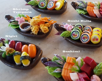 Sushi Necklace - Food Jewelry - Sushi Jewelry - Food Necklace - Sushi Boat - Sushi Rolls - You Pick Sushi Type