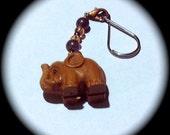 Wood Elephant Beaded Zipper Pull Key Chain Fob handmade  Native Southwestern Tribal ethnic Boho Gypsy Cottage Chic