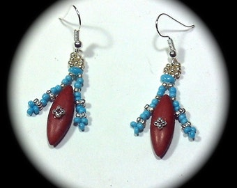 Turquoise Silver and Brown Magnesite Spike and Seed Bead Long Dangle Fashion Earrings for Every Day Wear boho gypsy native holiday