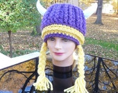 Ready to Ship Vikings Hat with Braids and Horns