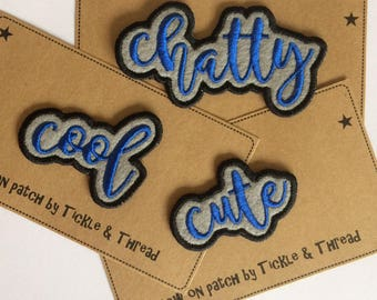 Sew on Word Patches - cute - cool - chatty - crazy