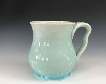 Light Green Crystalline Glazed Mug - Pottery Mug - Coffee Cup - Tea Cup - Green Cup - Light Green Cup - Crystalline Glaze - Porcelain Mug