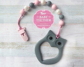 Free Shipping in Canada - Silicone Teething Pacifier Clip with Owl Teether - Soother Clip Baby Toy - Chew Toy - Pink/Grey/White