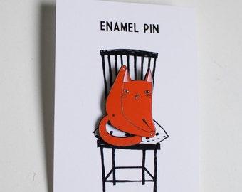 Ginger cat pin - red orange cat pin