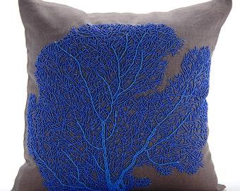 "Brown Decorative Pillow Cover, Square Beaded Shrub Sea Creatures Ocean & Beach Theme 16""x16"" Cotton Linen Pillowcase - Royal Blue Sea Weeds"