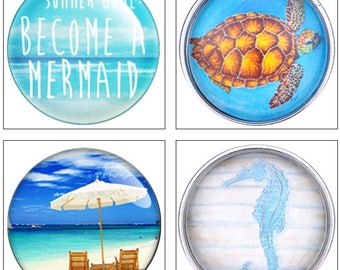 MERZIEs snap 18mm U PICK become mermaid, sea turtle, beach umbrella, blue seahorse ocean sea button - combined S&H - SHIPs from USA