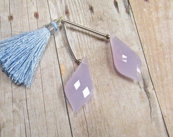 25% Off SALE Curvy Rose Cut Briolette Beads,  Lavender Quartz Matched Pair , 12mm x 28mm