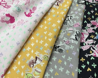 Alice in Wonderland - Fat Quarter bundle of 4 - Down the Rabbit Hole K50920 - Cotton fabric by Bellisario & Yoshie Allan for KOKKA