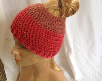 SALE - Cherry Chip Top knot/Messy Bun Hat