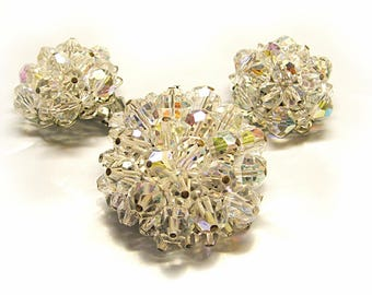 1960s Crystal Pin Earrings, Clip On big dome clusters, vintage costume jewelry