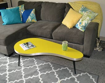 Vintage Kidney Shaped Coffee Table Authentic 1950s Metal Edge Painted Yellow