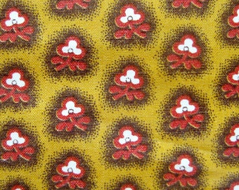 Vintage Cotton Fabric - Fifties Fabric - Small Floral Print in Burnt Orange and Brown on Mustard Yellow / Glazed Cotton