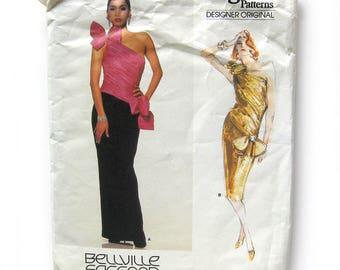 1980s Bellville Sassoon Evening Gown - Vogue Designer Original 1635 / One-Shouldered Cocktail Dress / Size 8
