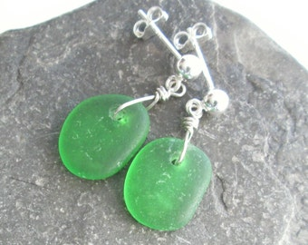 Green Dangle Earrings, Genuine Sea Glass Jewelry, Recycled Accessories for Her