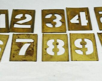 Antique Brass Letter Stencils Full Alphabet Some Punctuation (AB)