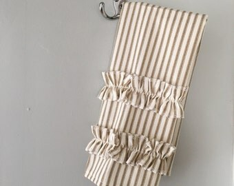 Brown Ticking Guest Towel With Ruffles
