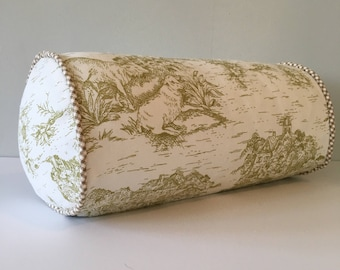 Toile Bolster Pillow Pear Green