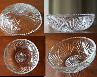 LOTUS STAR: Ornate Vintage Crystal Cut-Glass Finger Bowl, Regency Style, Tiny Sawtooth Edge, Interwoven 6-Point Star Mandala, Sunburst Base