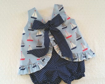 Ruffled Bow Back Swing Back Pinafore Top Bloomers Set baby or toddler - 3 mos to size 6 - Seaworthy Sailboat Collection
