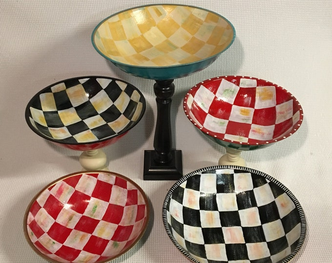 Whimsical painted bowl, wood bowl,serving bowl, salad bowl , checkered bowl