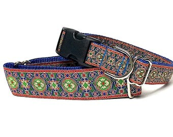 "1.5"" martingale dog collar or tag / buckle collar, DYNASTY 2 in blue red green metallic, Safety Collar, Greyhound Collar, Sighthound Collar"