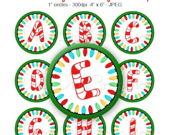 Christmas Lights and Candy Cane Alphabet Bottle Cap Images Digital Collage 1 Inch A-Z Digi - Instant Download - BC1127