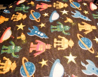 Robots out of Space Plantes and Stars  Printed   Felt Sheet