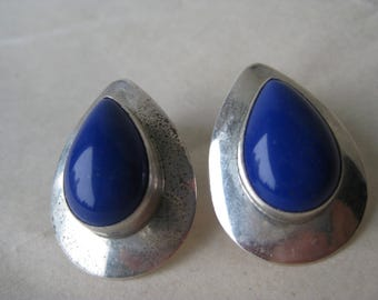 Lapis Blue Teardrop Sterling Earrings Post Stud Pierced Silver 925 Southwest RWG