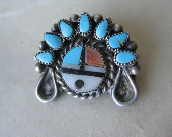 Zuni Sun Face Turquoise Sterling Brooch Coral Shell Silver Inlay Vintage Southwest Pin 925 Rex